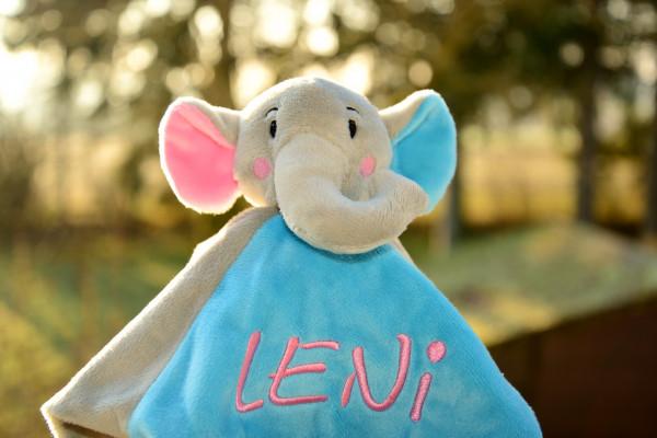 Schmusetuch Elefant mit Namen